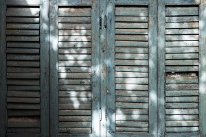 Old wooden window with sunlight