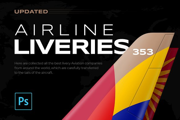 353 Airline Liveries + FREE-Graphicriver中文最全的素材分享平台