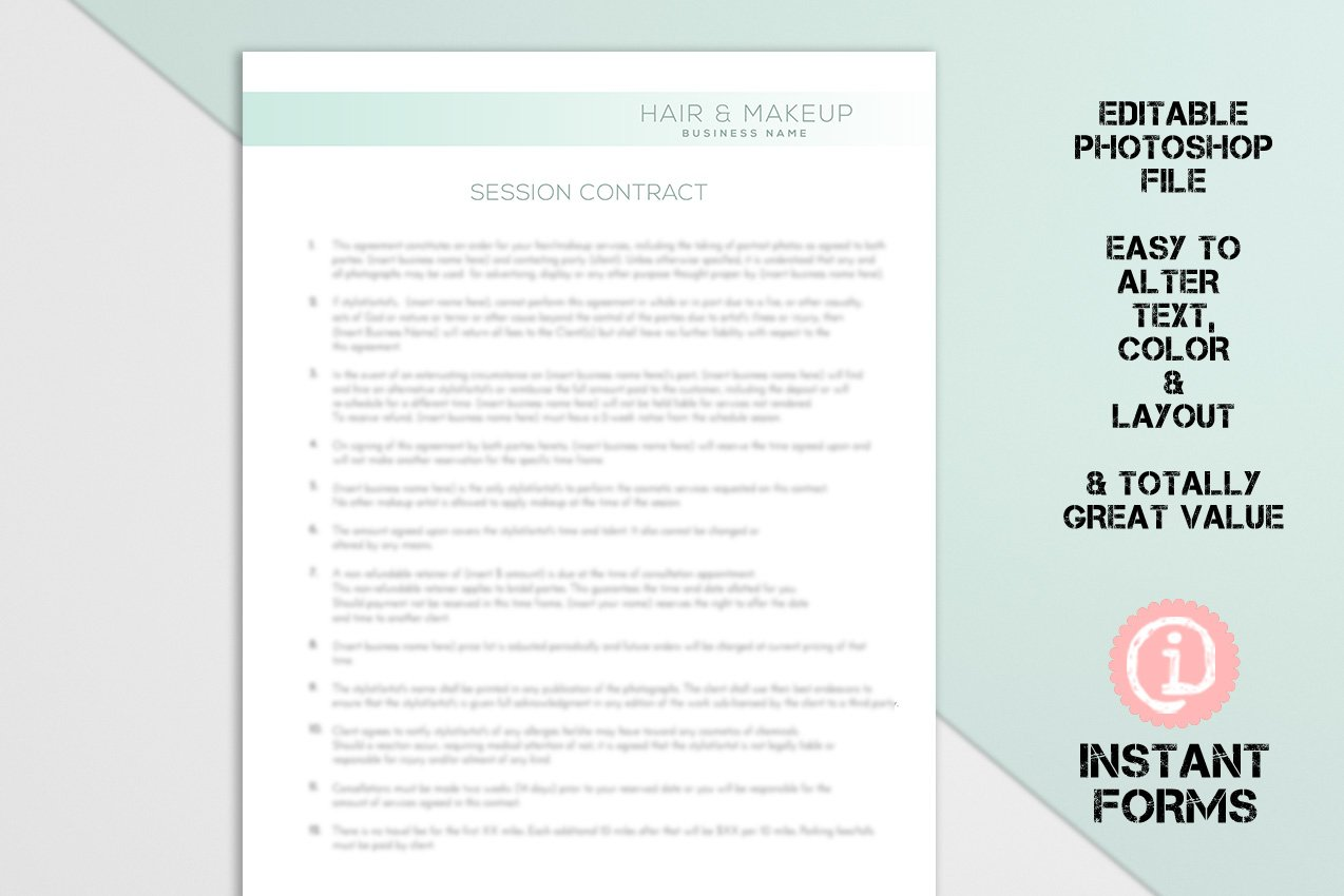 Hair Stylist And Makeup Artist Forms Stationery Templates Creative Market