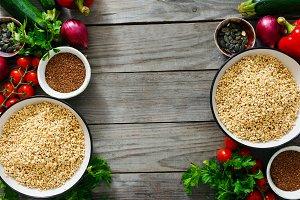 Green buckwheat set vegetables