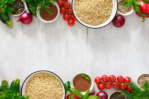 Raw green buckwheat set vegetables