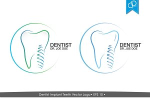 Dentist Implant Teeth Vector Logo