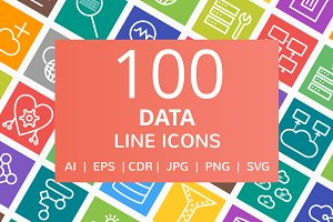 100 Data Line Multicolor B/G Icons