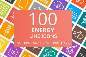 100 Energy Line Multicolor B/G Icons
