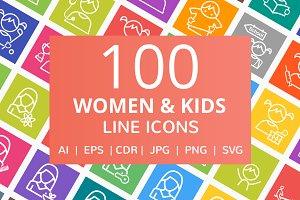 100 Women & Kids Line Icons