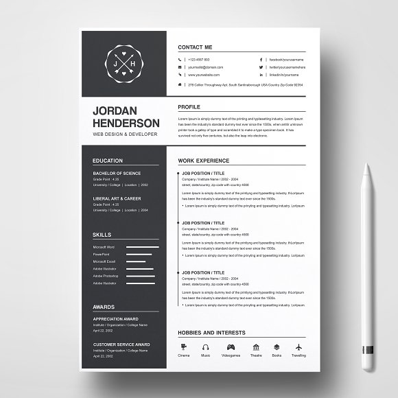 Resume Template + Cover Letter Word - Creative Daddy