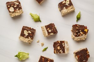 Raw vegan slices with nuts and cocoa
