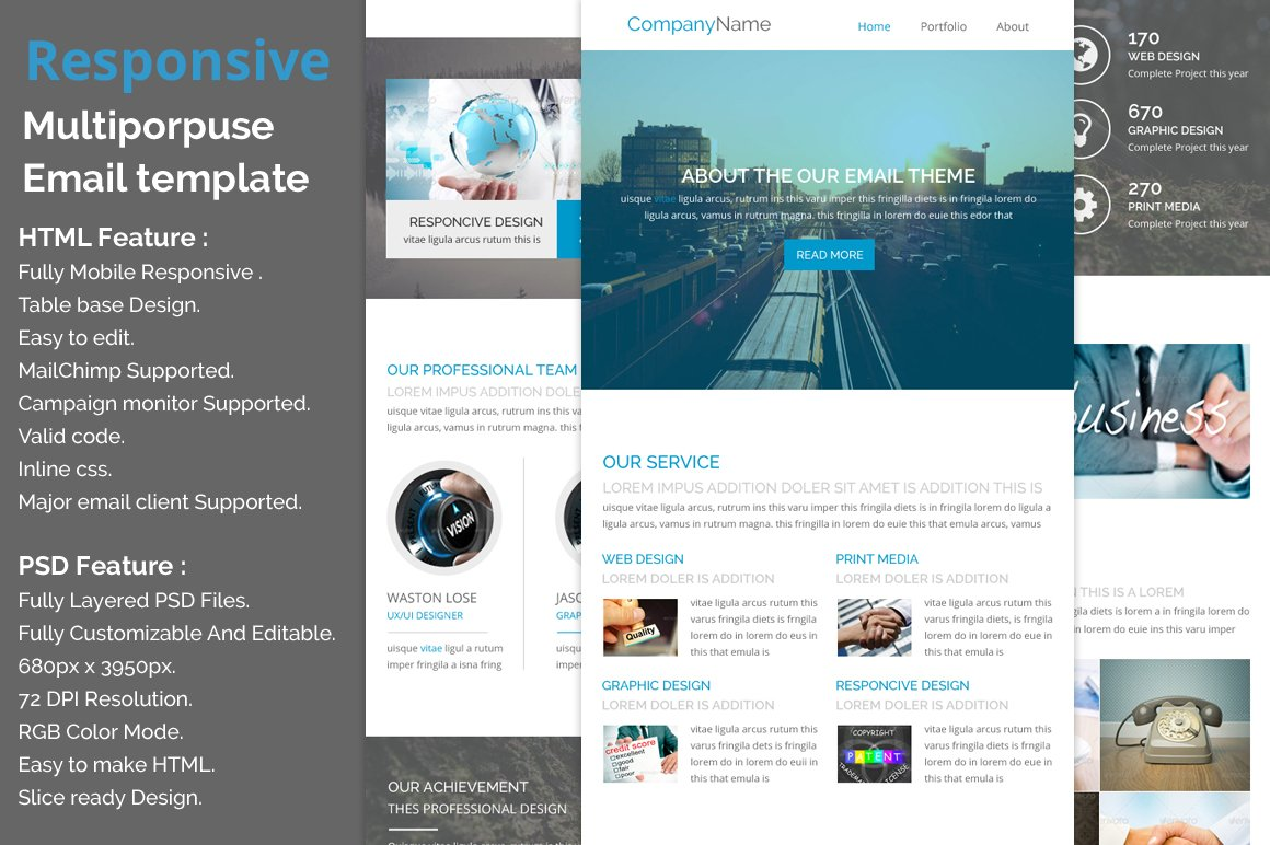 responsive e newsletter template email templates creative market