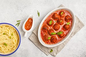 Pasta and meatballs in tomato sauce