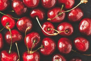 Ripe cherry food background