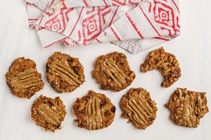 Vegan oatmeal cookies with peanut