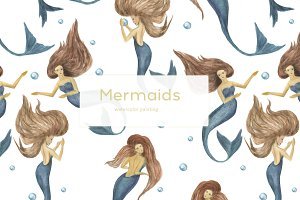 Mermaids - watercolor patterns