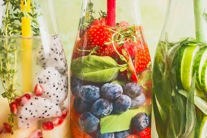 Fruits infused water close up