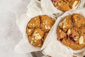 Berry vegan oatmeal muffins