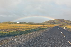 Rainbow and Endless Icelandic Highwa