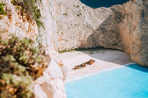 Navagio beach. Pure turquoise azure