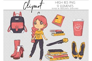Cute planner girl clip art, boots
