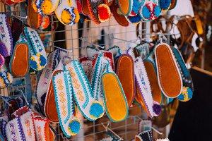 Souvenir shop. Traditional slipper