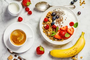 Healthy breakfast with coffee, yogur