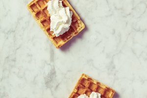 Traditional belgian waffles with whi