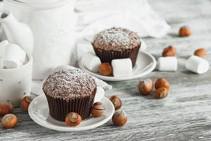 Chocolate cupcakes, marshmallow and