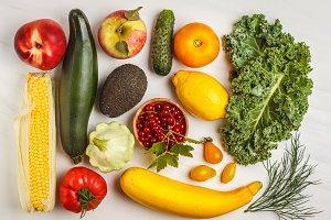 Colored fresh fruits, vegetables