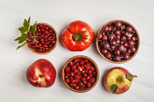 Assortment of red foods
