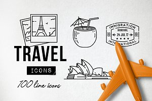 100 Travel Icons Set - Expanded
