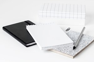 Styled desktop with notebooks