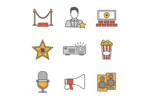 Cinema color icons set