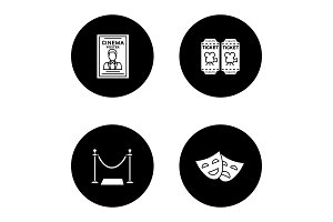 Cinema glyph icons set