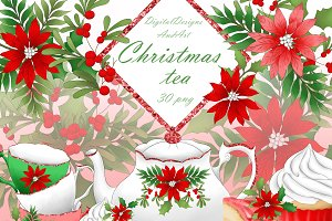 Christmas tea set clipart