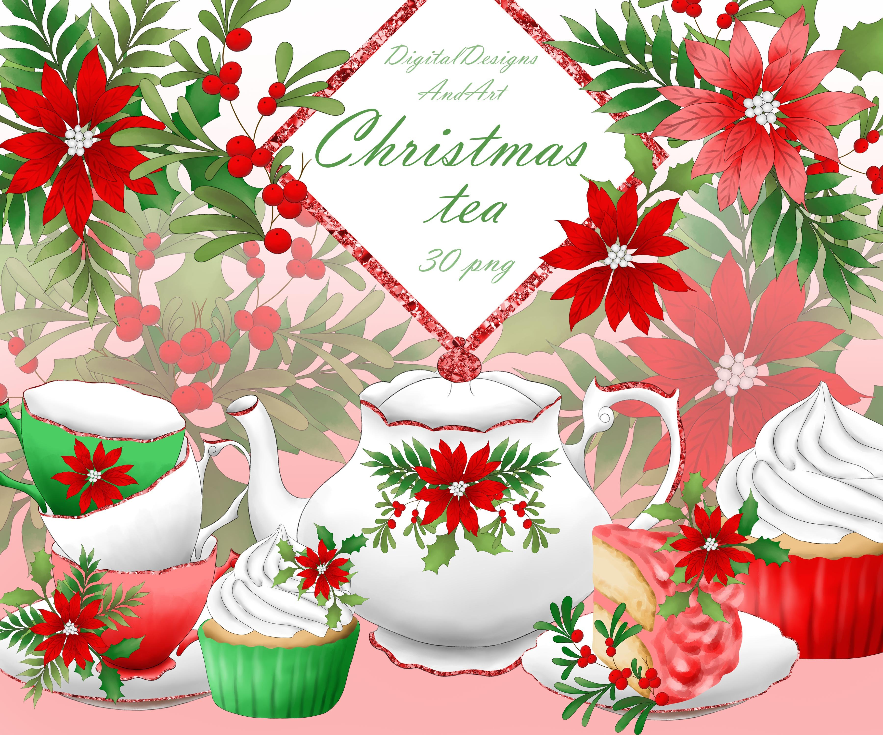 Christmas tea set clipart ~ Illustrations ~ Creative Market