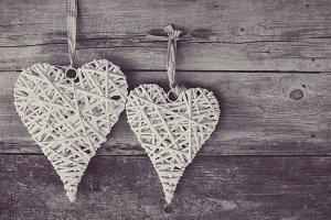 Two wicker hearts