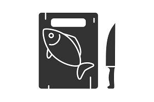 Cutting board with fish icon