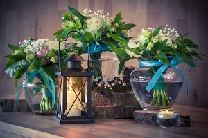 Wedding bouquets and candle
