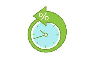 Back arrow around clock color icon