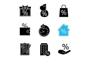 Percents glyph icons set