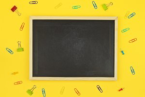 Blackboard on yellow