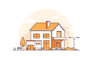 Cottage house - line illustration