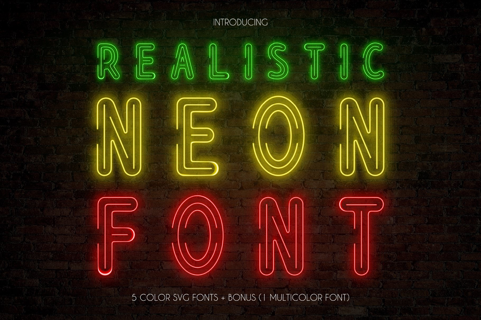 Download Realistic Neon SVG Font Pack | Stunning Display Fonts ...