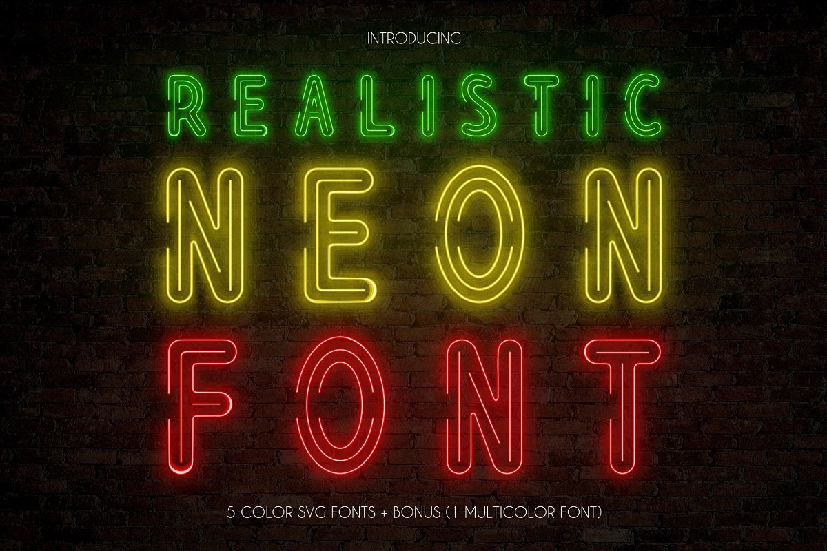 Realistic Neon SVG Font Pack in Display Fonts - product preview 8
