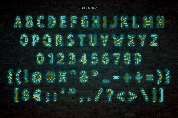 Realistic Neon SVG Font Pack in Display Fonts - product preview 1