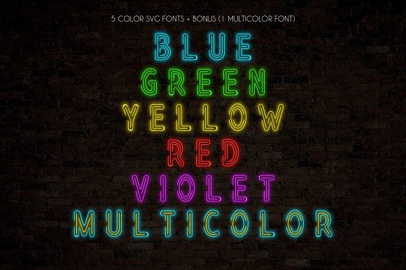 Realistic Neon SVG Font Pack in Display Fonts - product preview 3