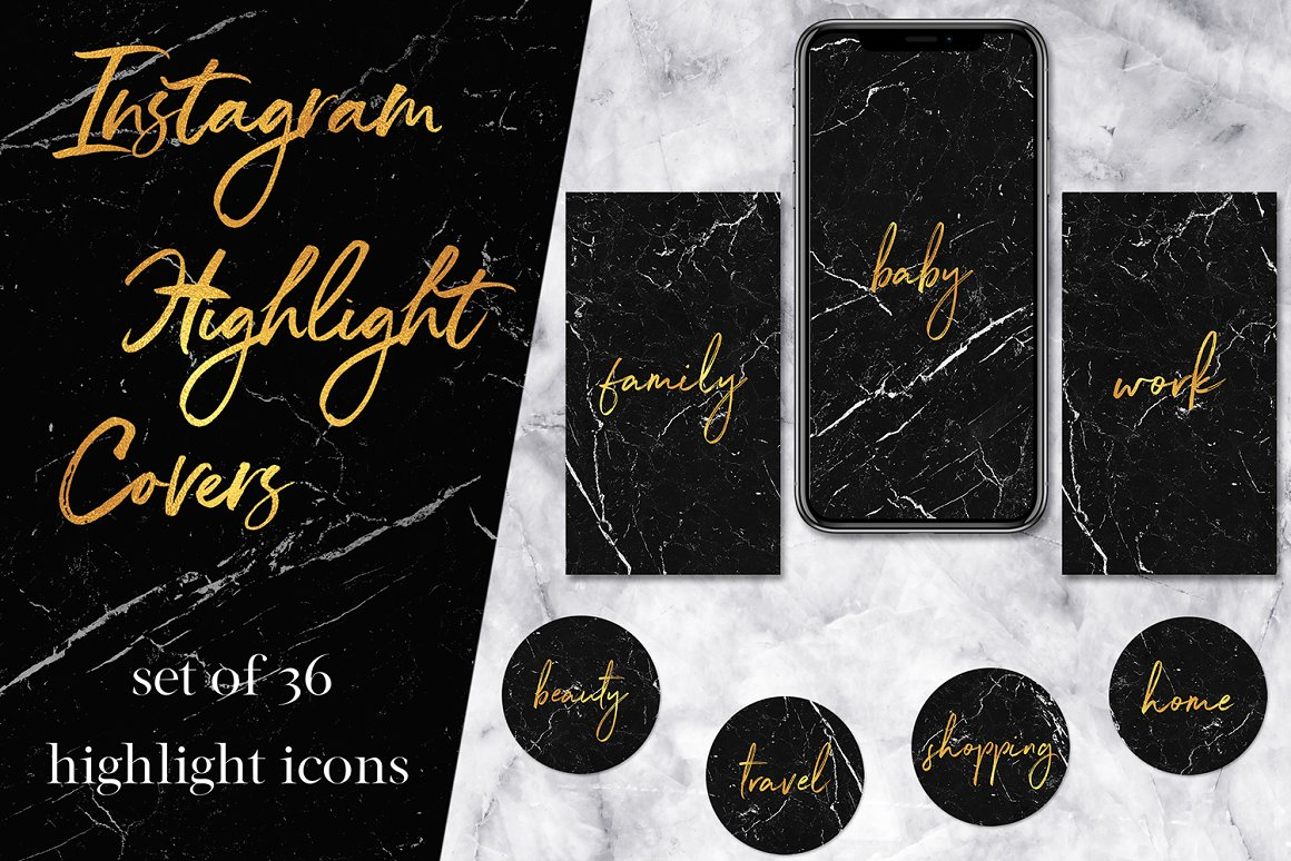 Marble & Gold Instagram Icons