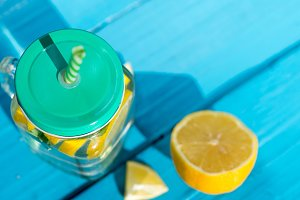 Lemonade on a wooden blue table