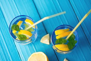 Refreshing lemonade in glass glasses