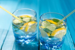 Refreshing lemonade with lemon, mint