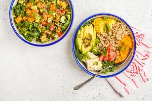 Vegan buddha bowl, helthy salad
