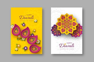 Diwali festival holiday posters.